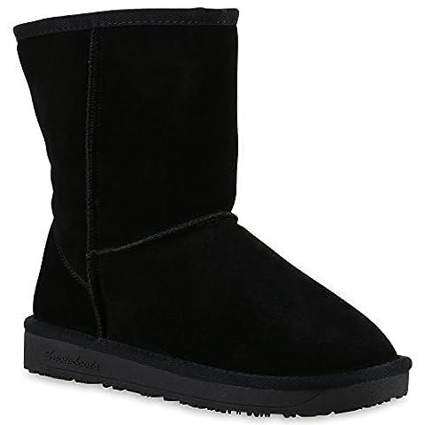 Warm Gefütterte Damen Stiefeletten Bequeme Schlupfstiefel Echtleder Schuhe 130078 Total Schwarz 37 | Flandell