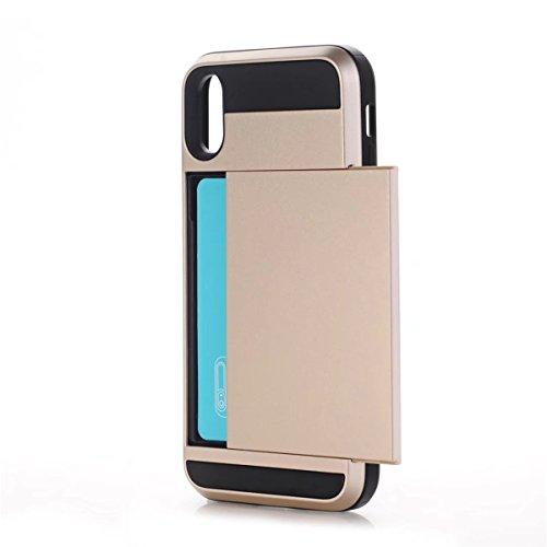 iPhone X Handycover, MOONMINI für iPhone X Dual Layer Hybrid Hülle Brieftasche Kartensteckplätze Handy Tasche Case Slim Fit Hard PC Weich TPU Stoßfest Back Abdeckung Beschützer Shell mit Kartenschlitz Golden