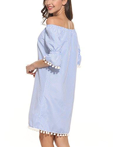 Damen Gestreift Kleid Schulterfrei Midikleid Strandkleid Mini Kleider Blau