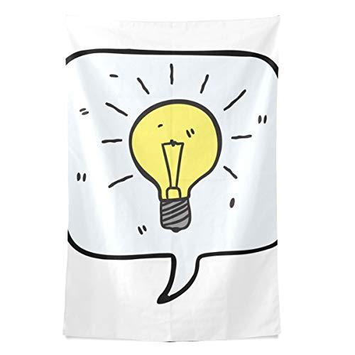 Lustige gelbe Neue Idee Glühbirne Wandteppich Wandbehang Cool Post Print für Wohnheim Home Wohnzimmer Schlafzimmer Tagesdecke Picknick Bettlaken 80 X 60 Zoll -