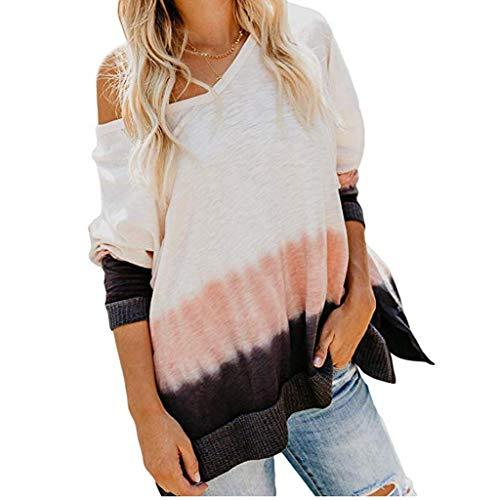 yazidan Frauen Pullover Freizeit Sweatshirt Schulterfrei Langarm Lose Pullover Pullover Shirts Bluse