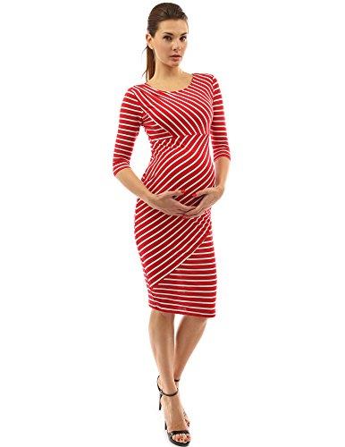 PattyBoutik Mama robe de maternité rayée manches 3/4 rouge et blanc
