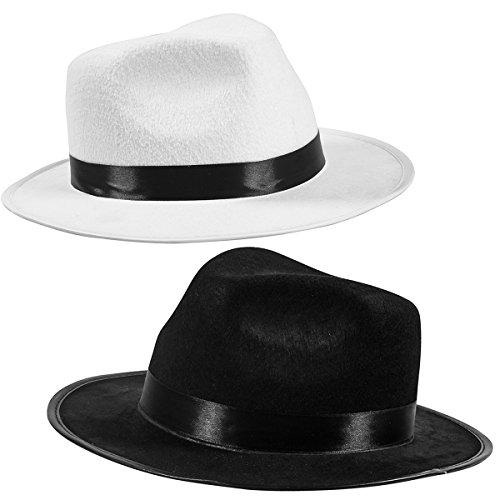Party Casablanca Kostüm - Black Fedora Gangster Hut Kostüm-Zubehör - lustige Partyhüte (2 Stück) - Schwarz & Weiß