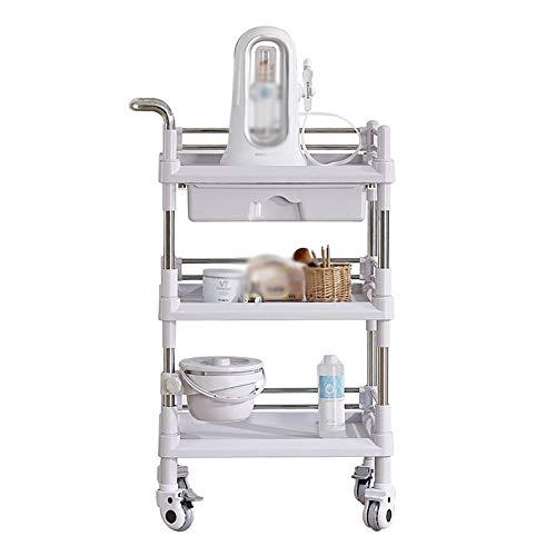 Küchenwagen ABS Serving Trolley Cart, 3-Tier-Kunststoff-Lagerregale für Krankenhausbehandlung/Klinik/Friseur/Kosmetik-Tools