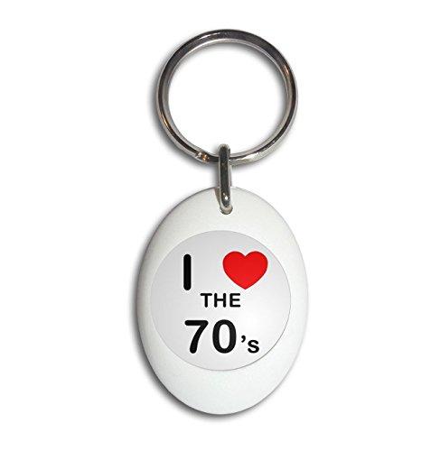 I Love The 70's - White Plastic Oval Key Ring