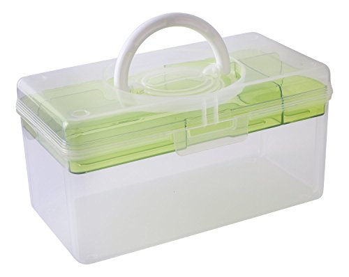Oheligo Plastic Storage Box Pill Medicine Cosmetic Sewing Organizer with Acrylic Tray Handle 2-Layer Transparent Container 24.5x13x13cm