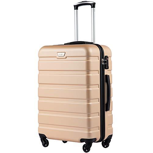 COOLIFE Hartschalen-Koffer Trolley Rollkoffer Reisekoffer mit TSA-Schloss und 4 Rollen(Gold, Mittelgroßer Koffer)