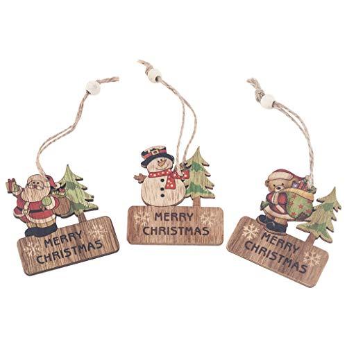 3Pcs Natalizie Ciondoli Babbo Natale Decorazione di Regalo Ornamenti per Albero di Natale Decorazione Dell'Albero di Natale Abbellimenti di Legno Scheda Clip Ornamenti da A
