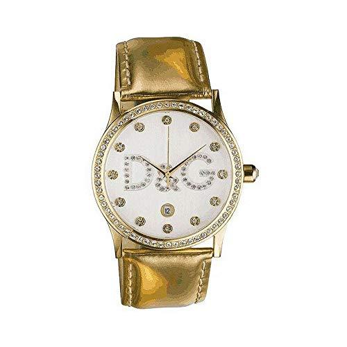 D&G Dolce & Gabbana DW0390 - Orologio da polso da donna, cinturino in pelle colore oro
