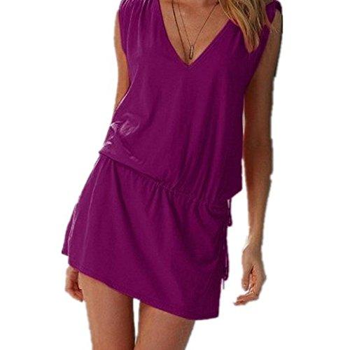 V profond robe robe de plage de l'été des femmes de robe de plage pourpre