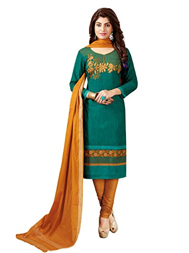 PShopee Women's Cotton Unstiched Patiyala Salwar Suit Dress Material Green and BrownColor...