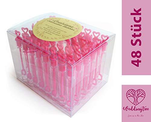 WeddingTree 48 pompas de jabón Rosa - con Mango en Forma de...