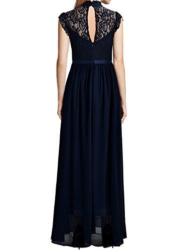 Miusol Damen Elegant Spitzen Abendkleid Brautjungfer Cocktailkleid Chiffon Faltenrock Langes Kleid Dunkelblau Gr.L -