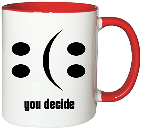 Mister Merchandise Kaffeebecher Tasse Happy or Sad Smiley Smilie Smile Glas leer halb voll halbvoll Teetasse Becher Weiß-Rot