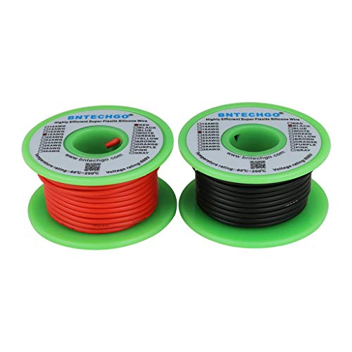 BNTECHGO 18 Gauge Silicone Wire Spool 50 feet Ultra Flexible High Temp 200 deg C 600V 18 AWG Silicone Wire 150 Strands of Tinned Copper Wire 25 ft Black and 25 ft Red Stranded Wire for Model Battery -