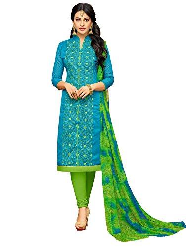 Pisara Women's Chanderi unstitched salwar suit dress material,Blue & Green