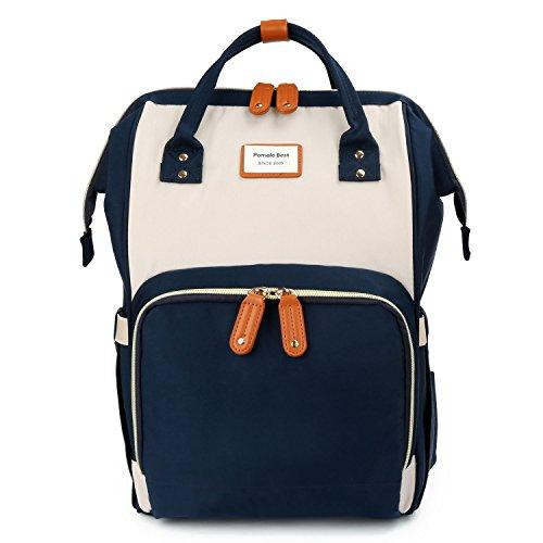 Baby Wickelrucksack Macaron Wickeltasche mit wasserdicht Wickelunterlage Große Kapazität multifunktional Babytasche Reiserucksack für Unterwegs (Elfenbein mit Marineblau)
