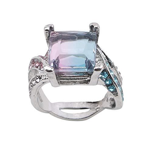 WEIHEEE Elegante Farbverlauf Square Ring Künstliche Strass Ring Verlobung Ehering für Frauen Damen, 9