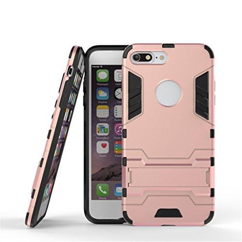 iPhone 7 Plus Coque, Apple iPhone 7 Plus Coque, Lifeturt [ Bleu Noir ] Étuis De Premium Kickstand Bumper Case [HEAVY DUTY] Corps Plein Robuste Hybride Double Couche De Protection Cover Bumper Case La  E2-Rose