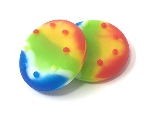 [1 Pair] Rainbow Thumb Grips – Suitable for PS4 – PS3 – XBOX 1 – XBOX 360 Controller Rubber Thumbstick Stick Grip Pads