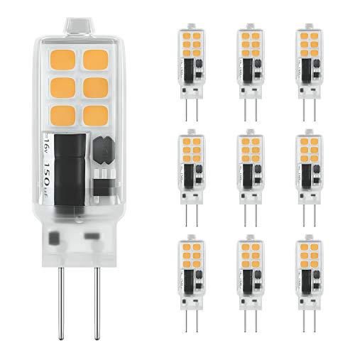 DiCUNO G4 LED Lampe 2W, AC/DC 12 V mit 240 LM, SMD,Warmweiß 3000k, Ersatz für 25W Halogen Lampen, Nicht dimmbar,Kein Flackern, 10-er Pack [Energieklasse A+] -