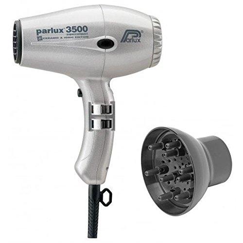 Pack asciugacapelli Parlux 3500 compatto ionic argento + diffusore
