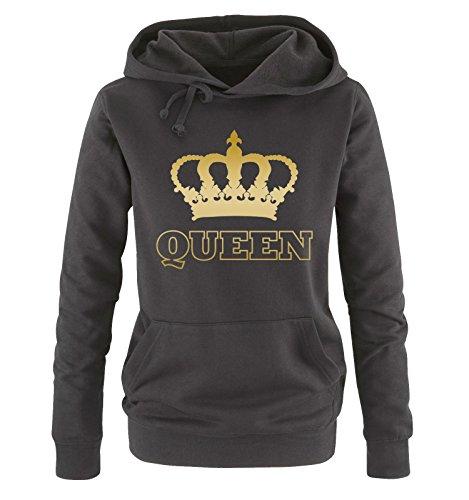 Comedy Shirts - Queen - Krone II - Damen Hoodie - Schwarz/Gold Gr. S