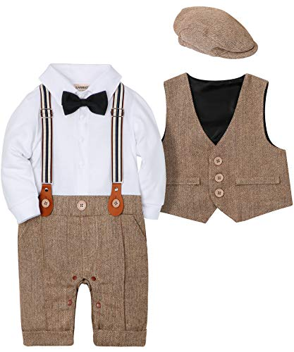 SANMIO Baby Jungen Bekleidungssets, 3tlg Strampler with Fliege + Weste + Hut Gentleman Anzug Langarm Baby Kleikind für Herbst Festliche Taufe Hochzeit (Braun, 0-3 Monate(Körpergröße 60))
