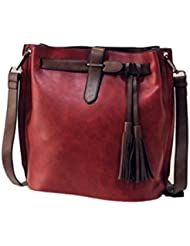 Bolso a bandolera Clode® Retro grande Messaggero delle donne la Napa Benna Vintage Simple hombro Crossbody Bolsa Colour : Vino Medium