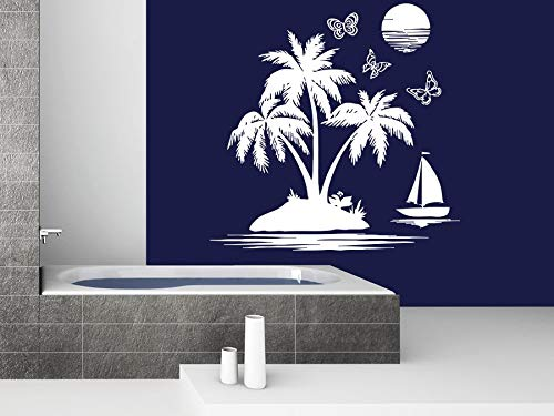 WWYJN Bathroom Wall Decal Sailfish Sea Beach Wall Sticker Removable Palm Tree Sunset Wallpaper Nautical Theme Home Decoration75x74cm