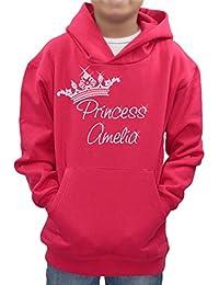 Princess tiara crown personalised name diamante hoodie girls xmas shirt present -Various sizes & colours
