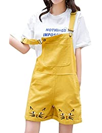 46d559cb8bf Yasong Women Girls Teenagers Student Junior Cute Embroidery Denim Dungaree  Shorts Jumpsuit Pinafore Overalls