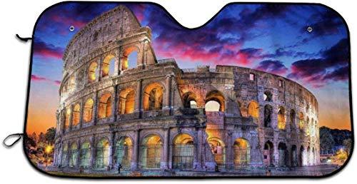 LanDu Colosseo Roma Italia Paesaggio Notturno Auto Parabrezza Parasole Parasole Universale automobilistico per Mantenere Fresco Il Veicolo Protezione UV Parasole per Camion SUV Minivan MPV Ro