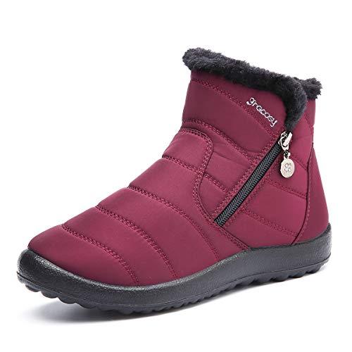 Gracosy Botas de Mujer Otoño Invierno Goma Encaje Forro de Piel Punta Redonda Botas de Nieve Zapatos...
