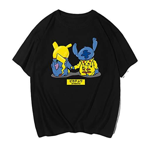 WQWQ Pokemon Kurzarm Pikachu Weihnachten Kurzarm Pokemon Polo Anzug Anime Pokemon Kurzarm männlichen und weiblichen Cosplay Kurzarm Fashion Young Apparel,A,M (Pikachu Anime Weibliche)