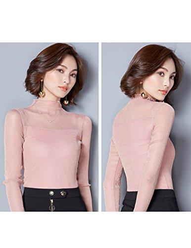 ... sitengle Damen Langarmshirt Durchsichtige Ärmel Übergroß Elastische  Stehkragen Netz Halb Transparent Shirt Oberteil Top Rosa ... 648f61e81d