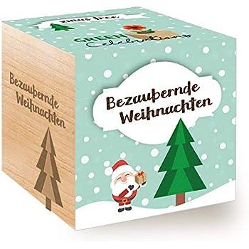 Holzw/ürfel Mit Lasergravur /«EIN S/ü/ßes Weihnachtsfest/» Schokoblume Feel Green Celebrations Ecocube Nachhaltige Geschenkidee Anzuchtset Made in Austria