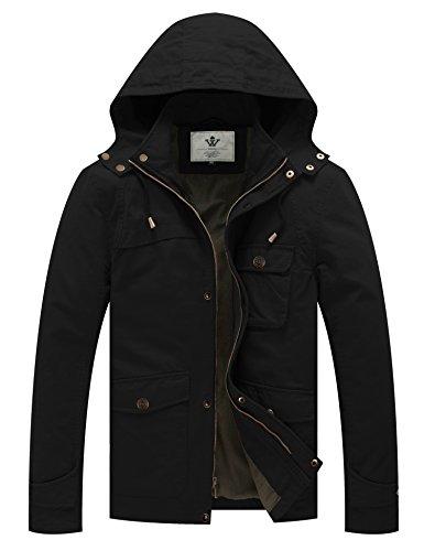 WenVen Herren Militär Baumwolle Mantel Feldjacke Windbreaker mit abnehmbarer Kapuze Schwarz Medium (Militär Herren Mantel)
