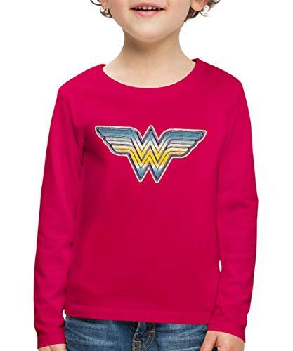 Spreadshirt DC Comics Originals Wonder Woman Retro Logo Kinder Premium Langarmshirt, 98/104 (2 Jahre), Dunkles Pink -