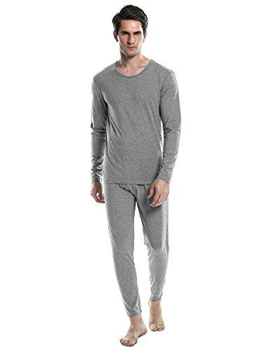 Ekouaer Thermal Shirt&Pants Men's Crew Neck Lightweight Underwear Sets (Gray, Medium)