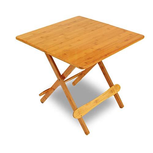 GY TV-Fach Faltbar und Snack-Tisch, Bambus Kommode Tisch, Beistelltisch Mit Quadratischer Platte, Studienbüro, Außen- und Innenhaus Kleiner Tisch, Holzfarbe (3 Größen)
