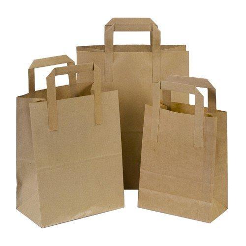 THALI Outlet Leeds®-750x braun SOS Papier Staubbeutel Tape Griff Carrier Food-Staubbeutel-250x klein/250x mittel/250x groß-versiegelt Boxen der einzelnen Mega Deal -