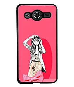 PrintVisa Designer Back Case Cover for Samsung Galaxy Core I8260 :: Samsung Galaxy Core Duos I8262 (Pink Girl Beautiful Girl Trendy)