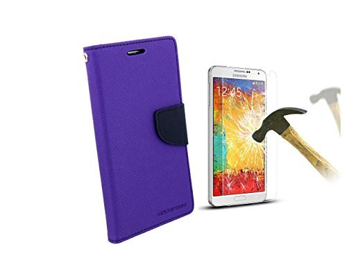 Relax And Shop Diary Wallet Style Flip Cover With Tempered Glass Screen Protector for Samsung Galaxy CORE PRIME G360- Purple  available at amazon for Rs.189