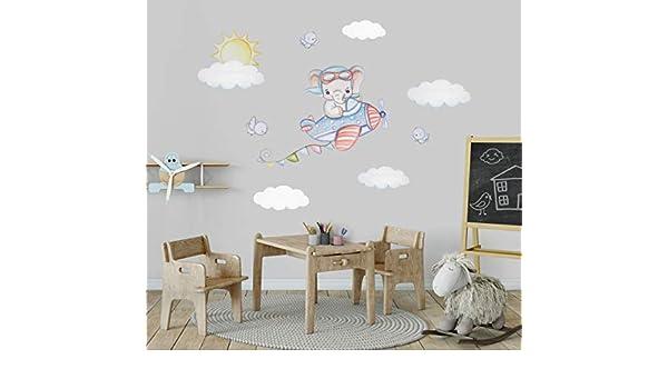 Flugzeug Wandtattoo Kinderzimmer Junge Elefant Aufkleber Flugzeug