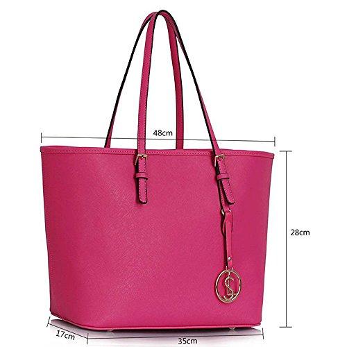 Trend Star woman designer handbag ladies fashion patent tote bag (D - Black / White) B - Rosa