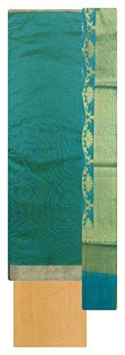 India Silk Fab Handloom Cotton Ethnic Dress Material for Women (Sea Green)