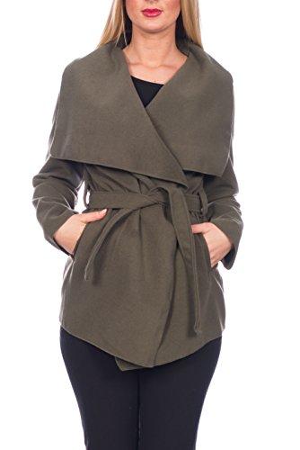 Kendindza Damen Mantel Trenchcoat mit Gürtel OneSize Lang und Kurz (OneSize, Khaki kurz)
