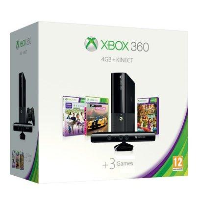 Xbox 360 E + Mando + Kinect + Juego Kinect Adventures + Juego Kinect Sports + Juego Forza Horizon - Color Negro