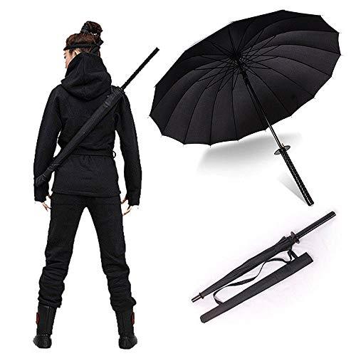 LCTCYS Stilvolle Schwarze japanische Samurai 41\'\'Long-Griff-Sonnenschirme Halbautomatik8, 16 und 24 Rippen (größe : 24RIBS)
